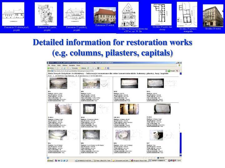 Detailed information for restoration works