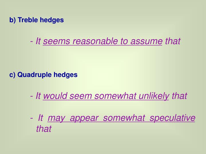 b) Treble hedges