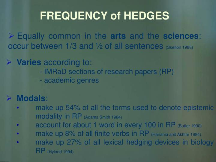 FREQUENCY of HEDGES