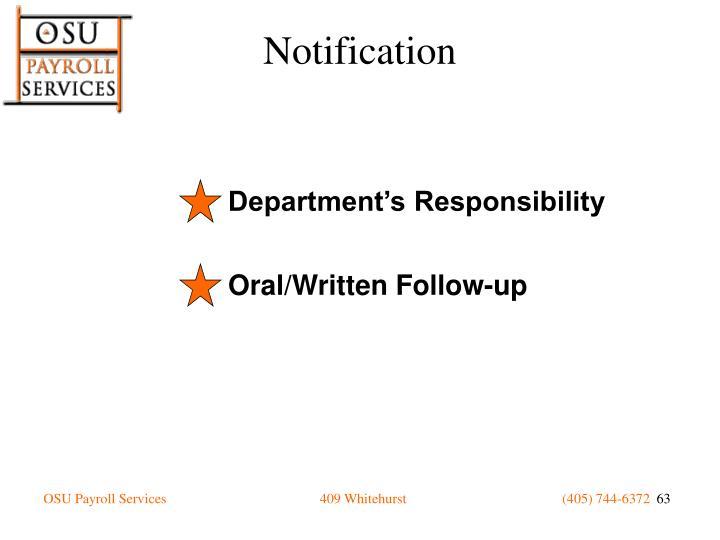 Department's Responsibility