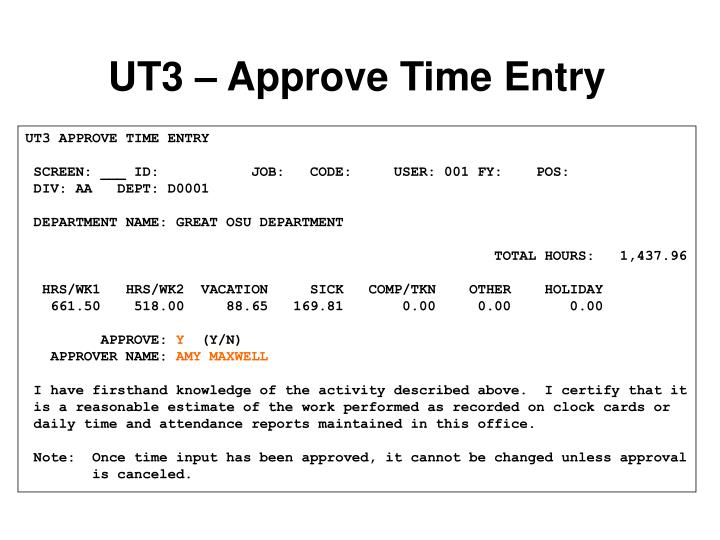 UT3 – Approve Time Entry