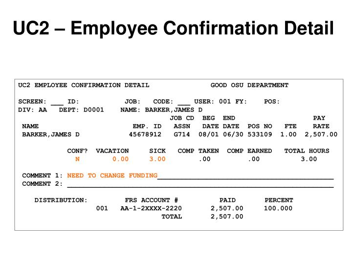 UC2 – Employee Confirmation Detail