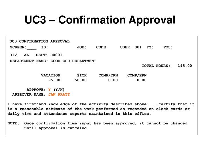 UC3 – Confirmation Approval