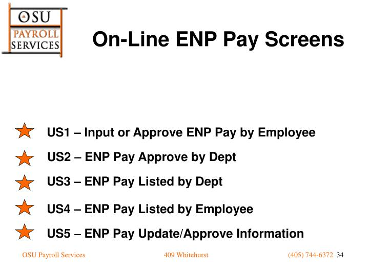 On-Line ENP Pay Screens