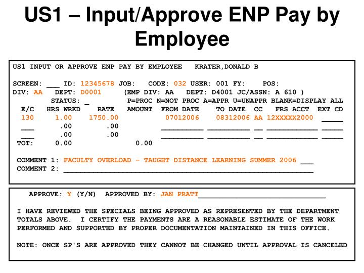 US1 – Input/Approve ENP Pay by Employee