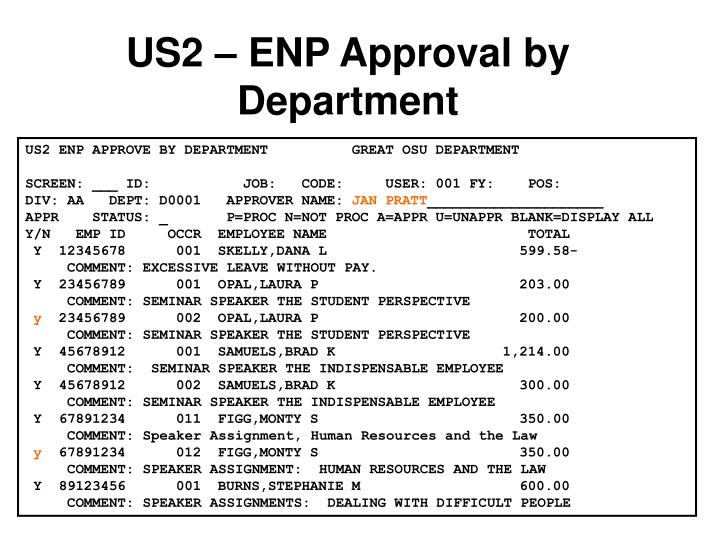 US2 – ENP Approval by Department