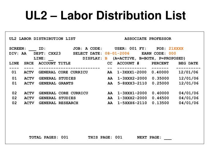 UL2 LABOR DISTRIBUTION LIST                    ASSOCIATE PROFESSOR