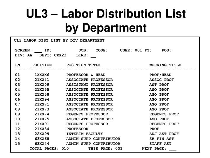 UL3 – Labor Distribution List by Department