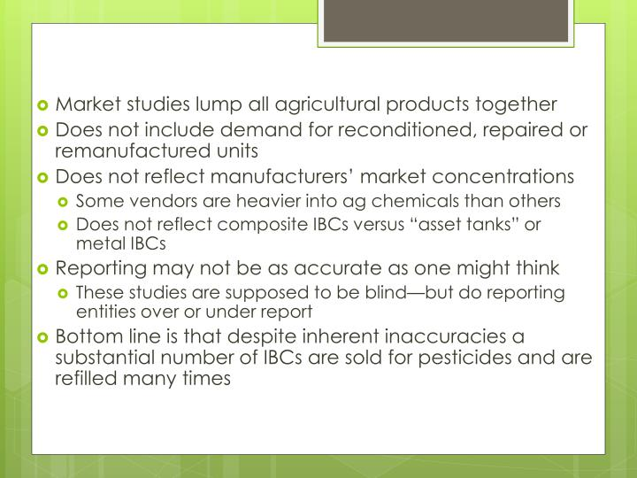 Market studies lump all agricultural products together