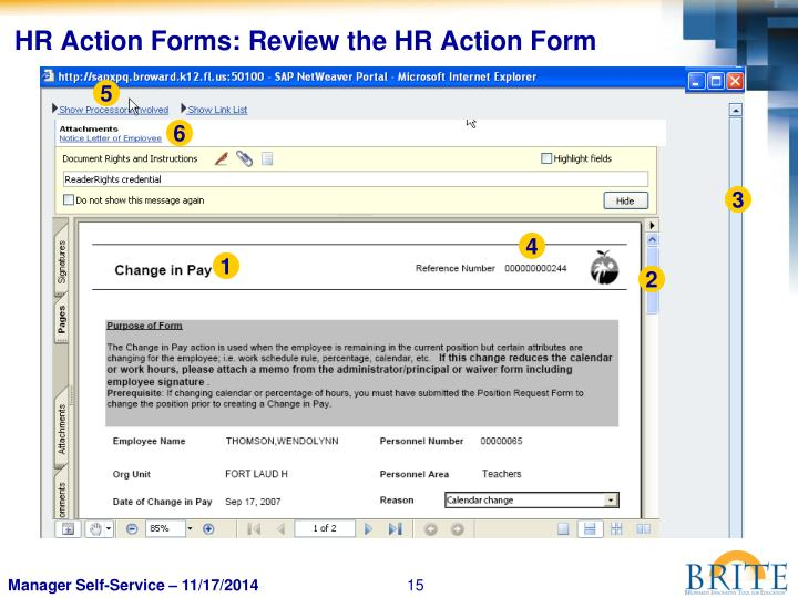 HR Action Forms: Review the HR Action Form