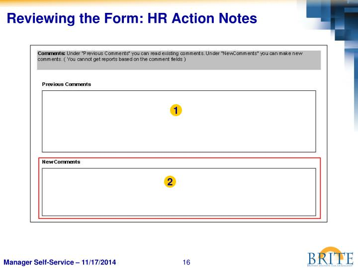 Reviewing the Form: HR Action Notes