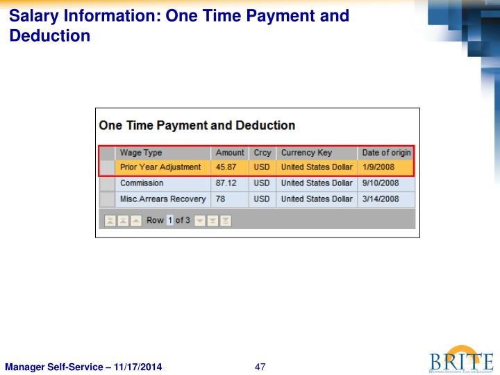Salary Information: One Time Payment and Deduction