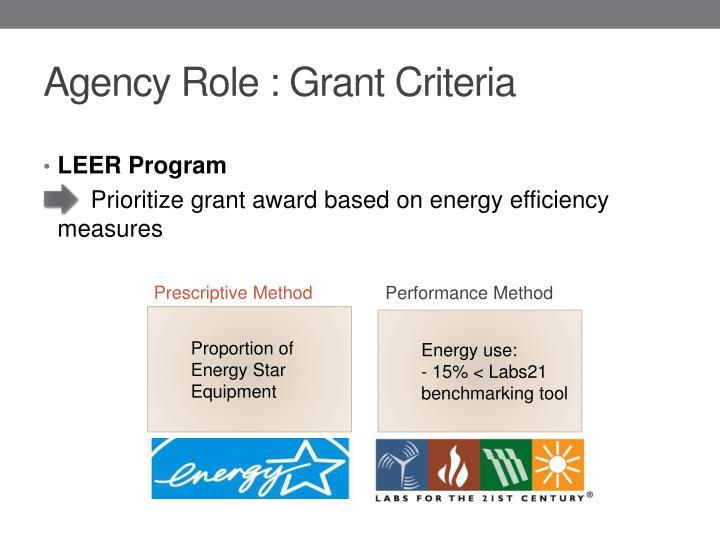 Agency Role : Grant Criteria