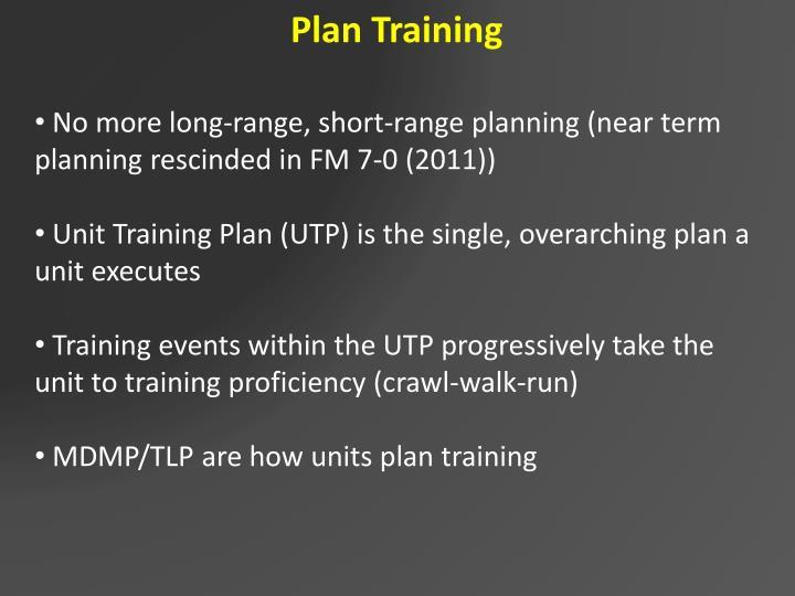 Plan Training