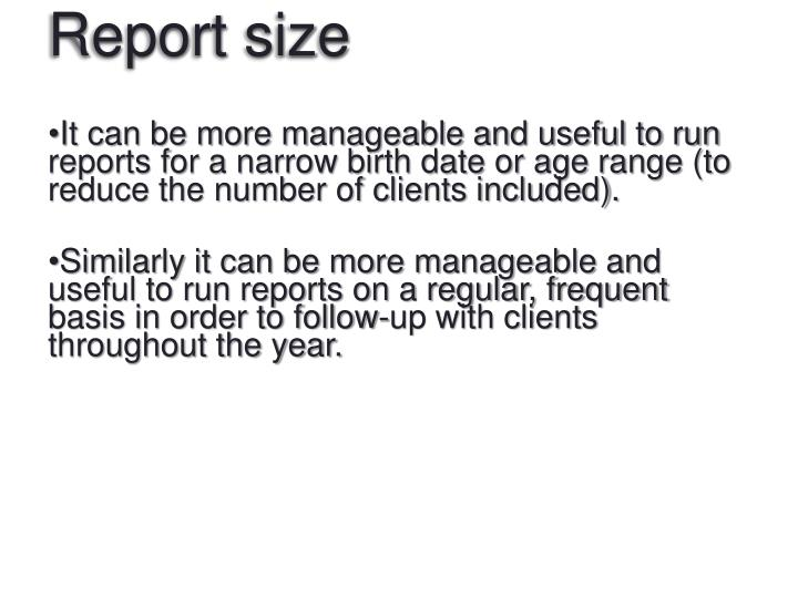 Report size