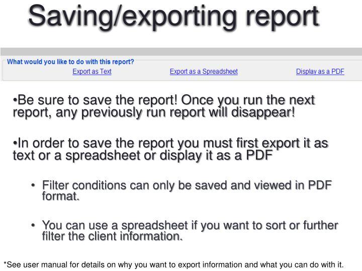 Saving/exporting report