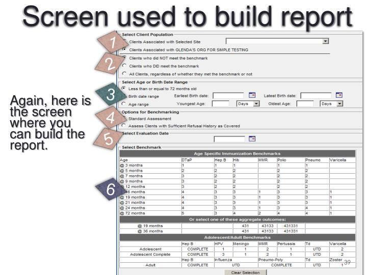 Again, here is the screen where you can build the report.