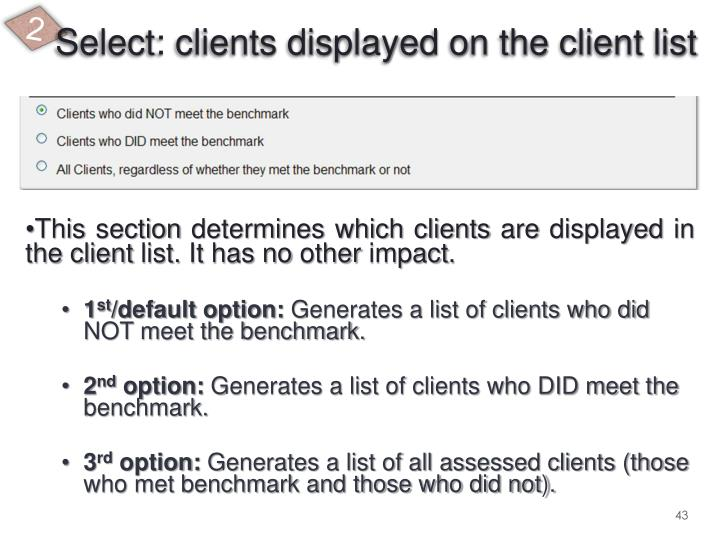 Select: clients displayed on the client list