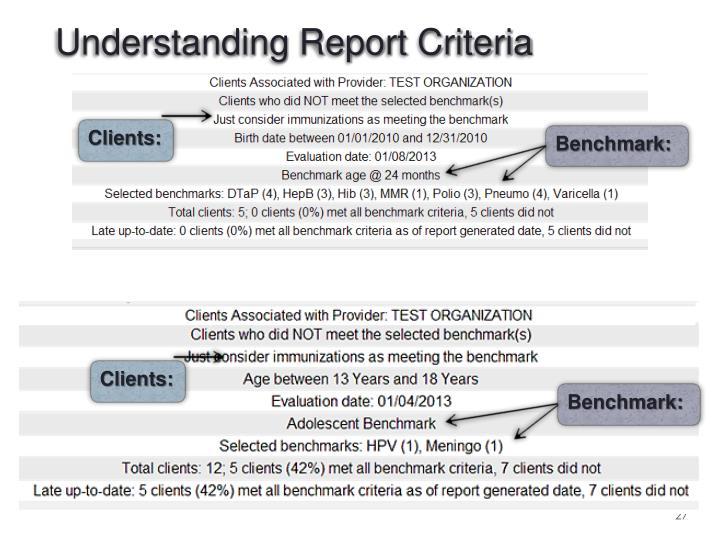 Understanding Report Criteria