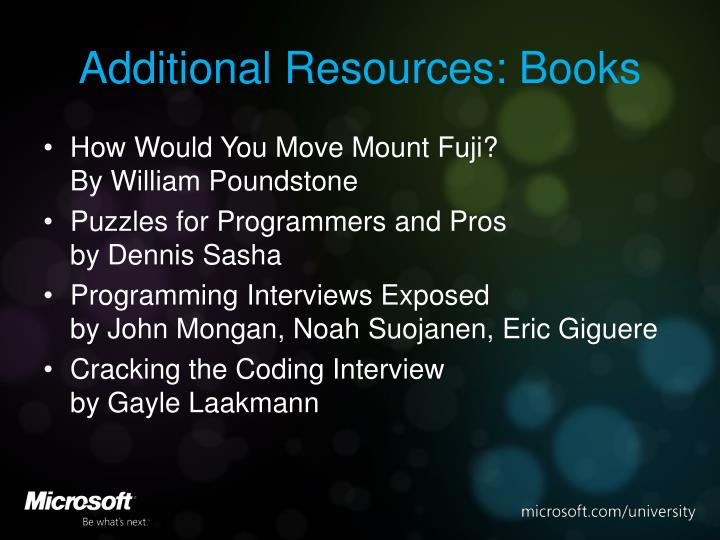 Additional Resources: Books
