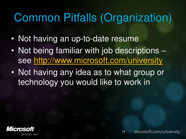 Common Pitfalls (Organization)
