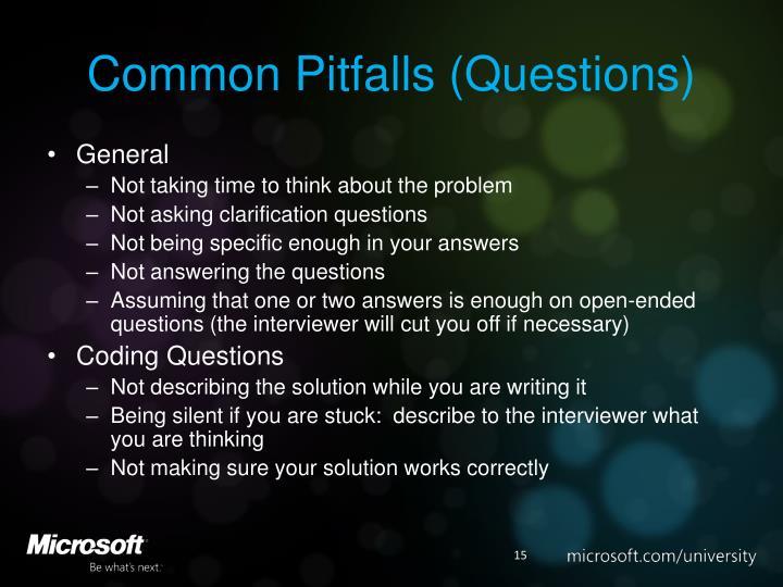 Common Pitfalls (Questions)