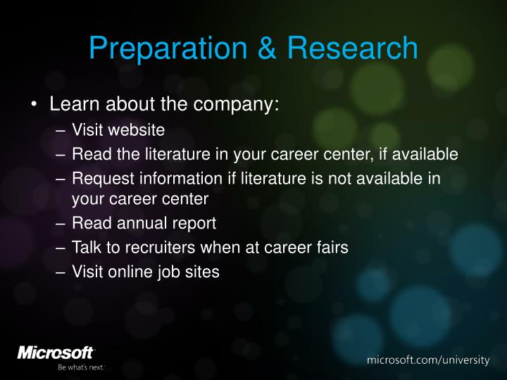 Preparation research
