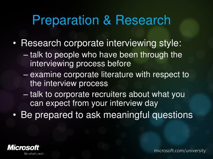 Preparation & Research