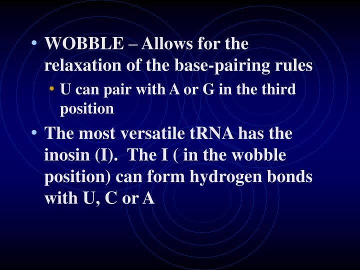 WOBBLE – Allows for the relaxation of the base-pairing rules
