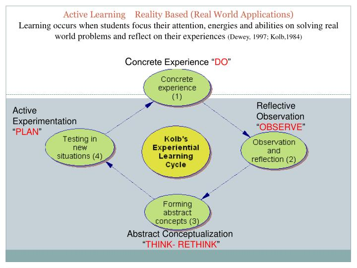 Active Learning	Reality Based (Real World Applications)