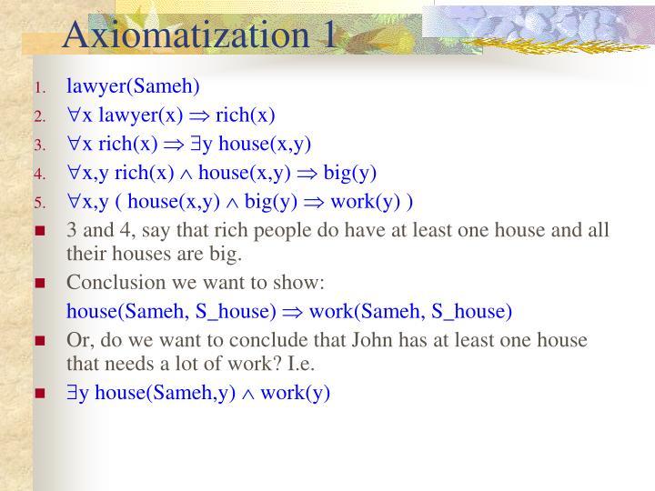 Axiomatization 1