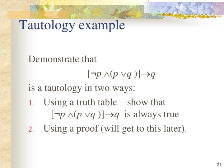 Tautology example