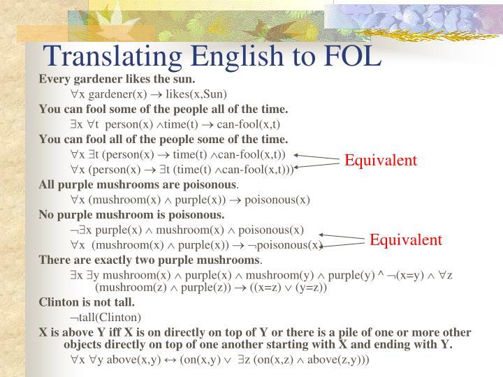 Translating English to FOL
