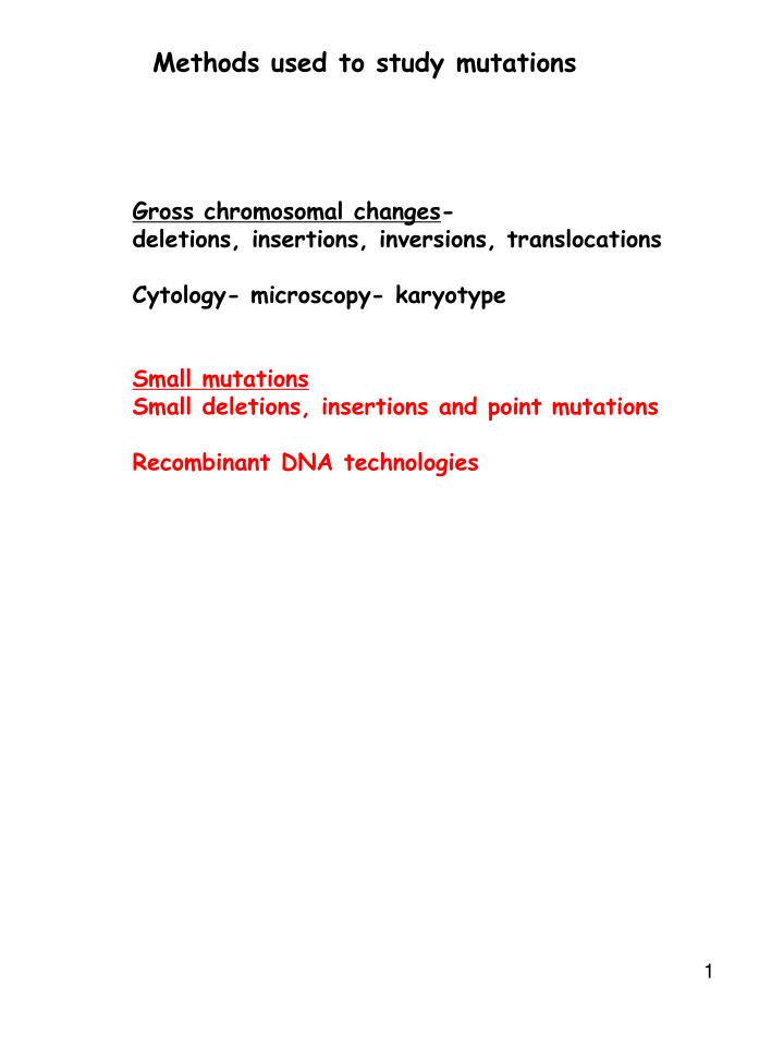 methods used to study mutations n.