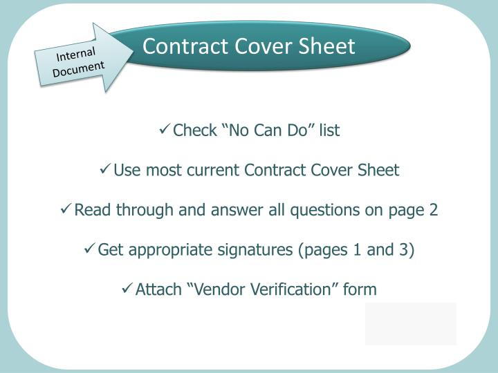 Contract Cover Sheet