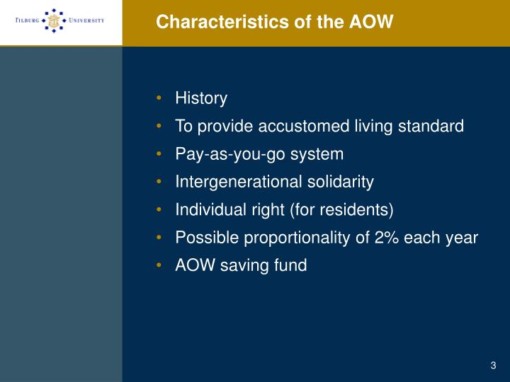 Characteristics of the aow