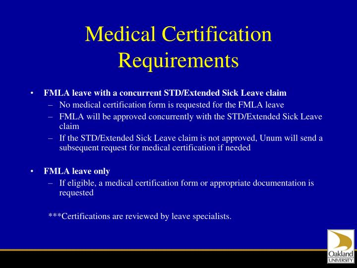 Medical Certification Requirements