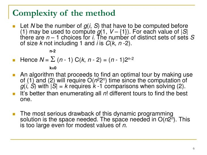 Complexity of the method