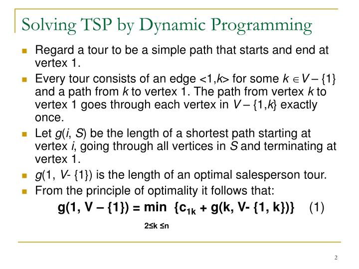 Solving tsp by dynamic programming