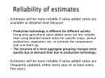 reliability of estimates