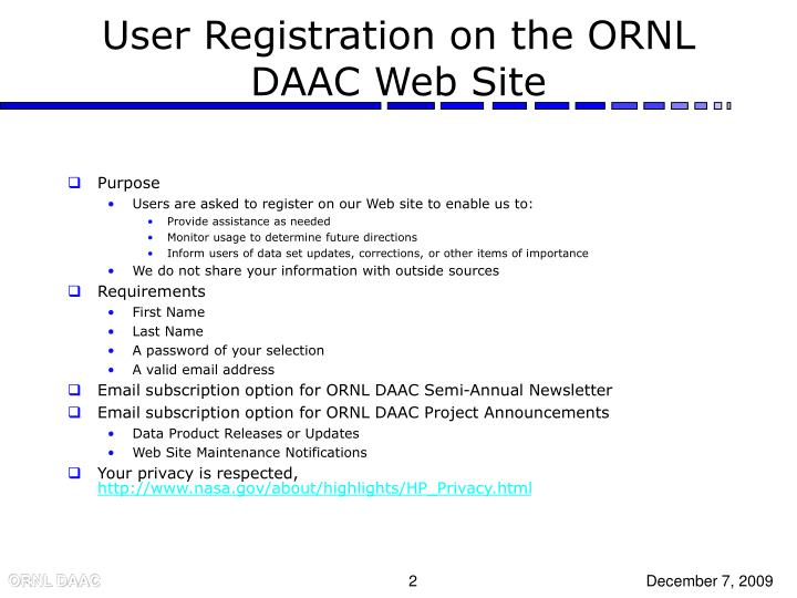 User registration on the ornl daac web site