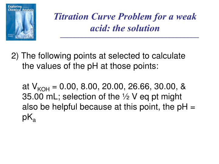 Titration Curve Problem for a weak acid: the solution