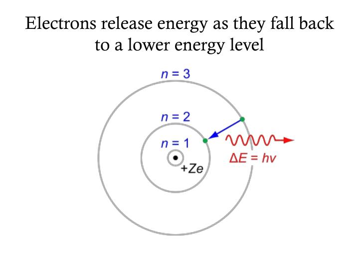Electrons release energy as they fall back to a lower energy level
