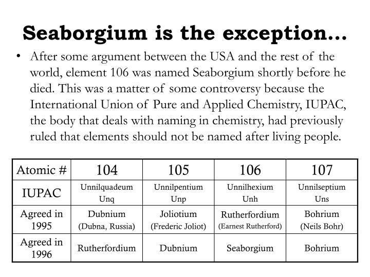 Seaborgium is the exception…