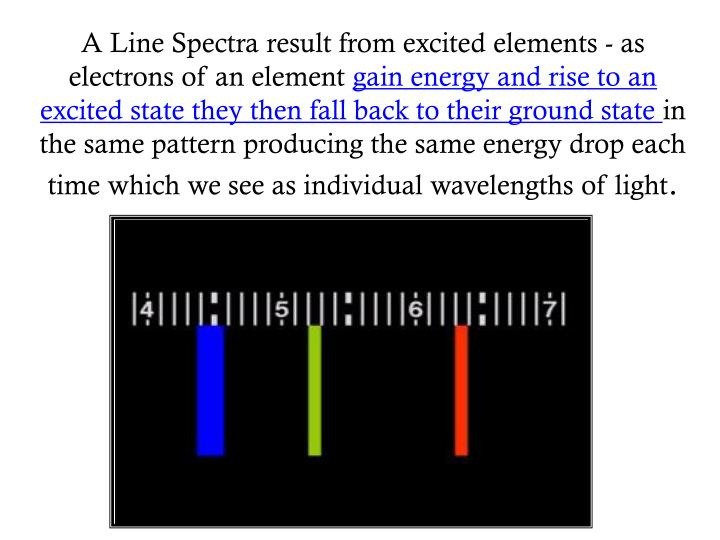 A Line Spectra result from excited elements - as electrons of an element
