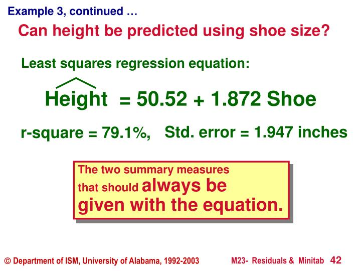 Height  = 50.52 + 1.872 Shoe