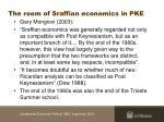 the room of sraffian economics in pke