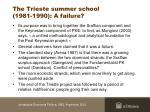 the trieste summer school 1981 1990 a failure