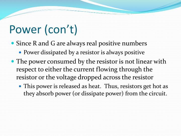 Power (con't)