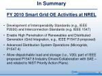 in summary fy 2010 smart grid oe activities at nrel